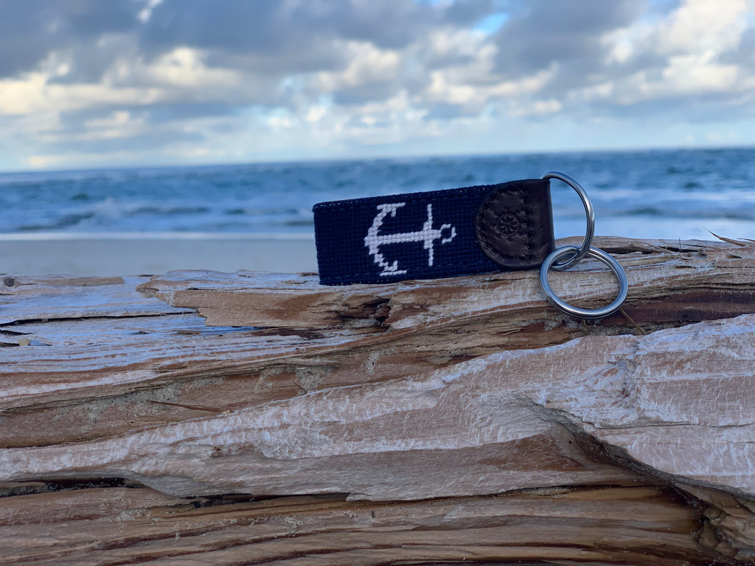 Anchor Needlepoint Key Fob