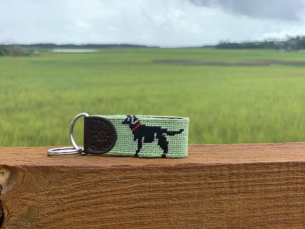 Black Lab Needlepoint Key Fob