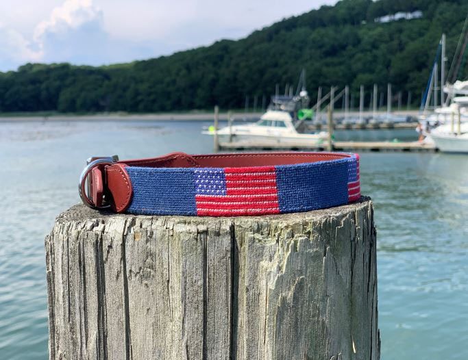 Light Blue American Flag Needlepoint Dog Collar