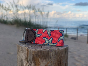 Star Fish Needlepoint Key Fob