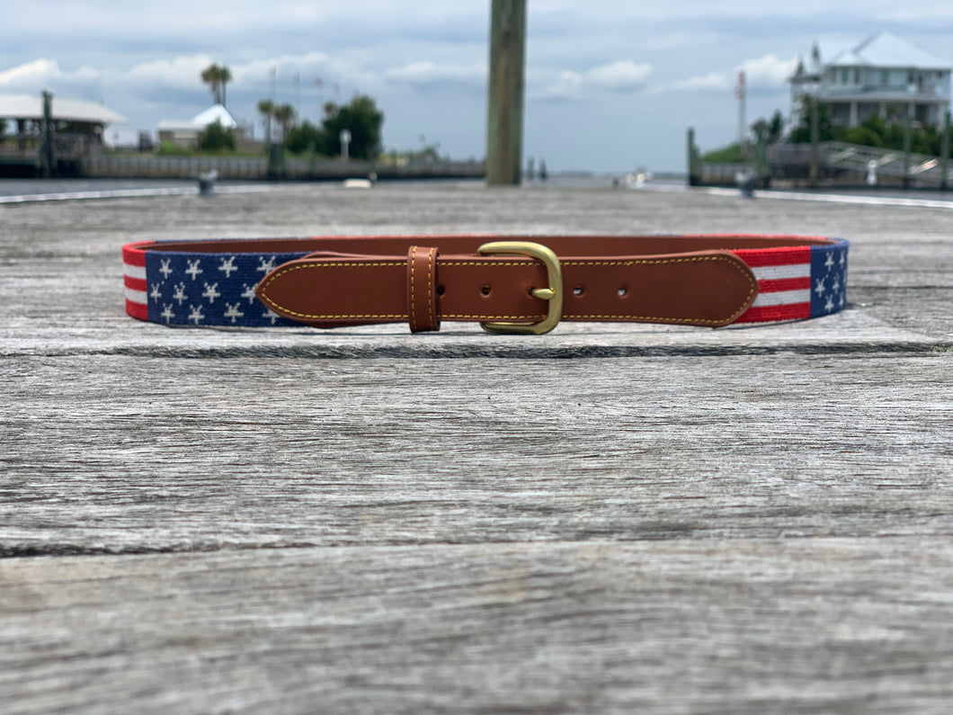 Stars & Stripes Needlepoint Belt