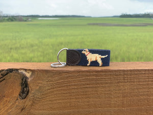 Yellow Dog  Needlepoint Key Fob