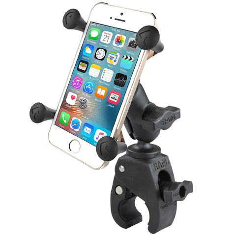 RAM MOUNT SMALL TOUGH-CLAW™ BASE W/SHORT DOUBLE SOCKET ARM AND UNIVERSAL X-GRIP® CELL/IPHONE CRADLE