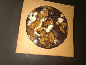 Fudgy Brownie topped with Roasted Walnuts & White Chocolate