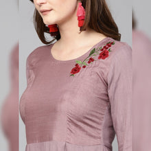 Load image into Gallery viewer, Red embroidery onion color kurta with black palazzo
