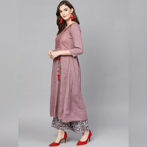 Red embroidery onion color kurta with black palazzo