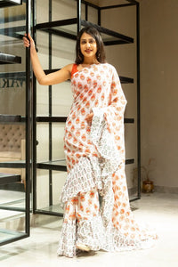 Butta Off White Frill Style Hand Block Printed Saree