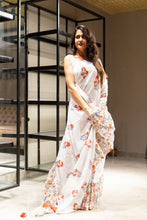 Load image into Gallery viewer, Carnation Print Frill Style MulmulCotton Saree