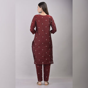 Silver embroidery chanderi wine red suit set