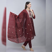 Load image into Gallery viewer, Silver embroidery chanderi wine red suit set