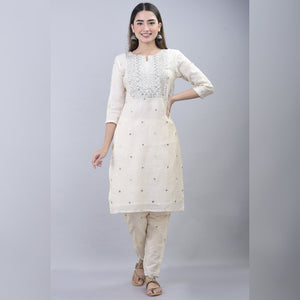 Silver embroidery chanderi off white suit set