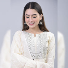 Load image into Gallery viewer, Silver embroidery chanderi off white suit set