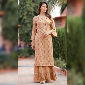 Mirror work brown printed kurta sharara set