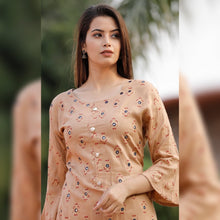 Load image into Gallery viewer, Mirror work brown printed kurta sharara set