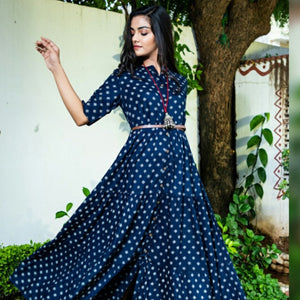 Rayon staple dot print navy blue floor length dress