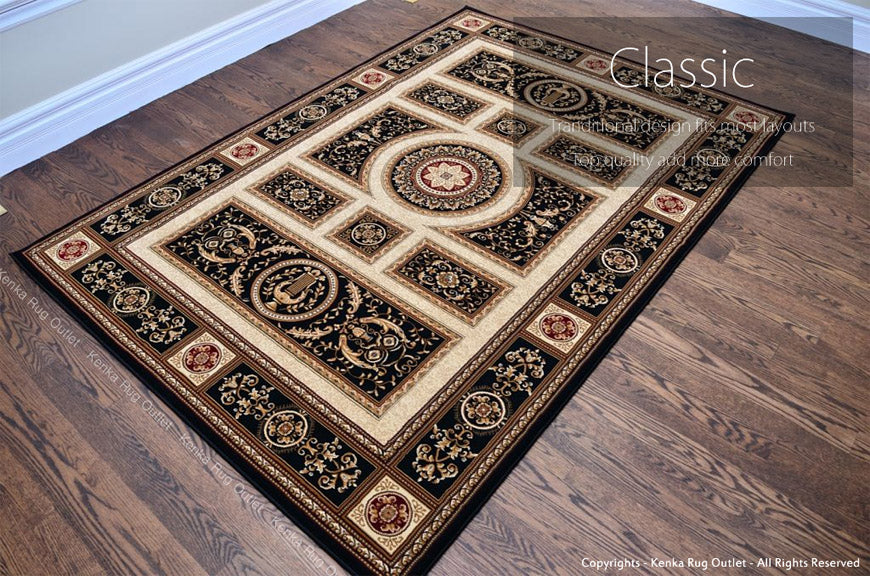 Royal Istanbul Black Area Rug - Classic Design