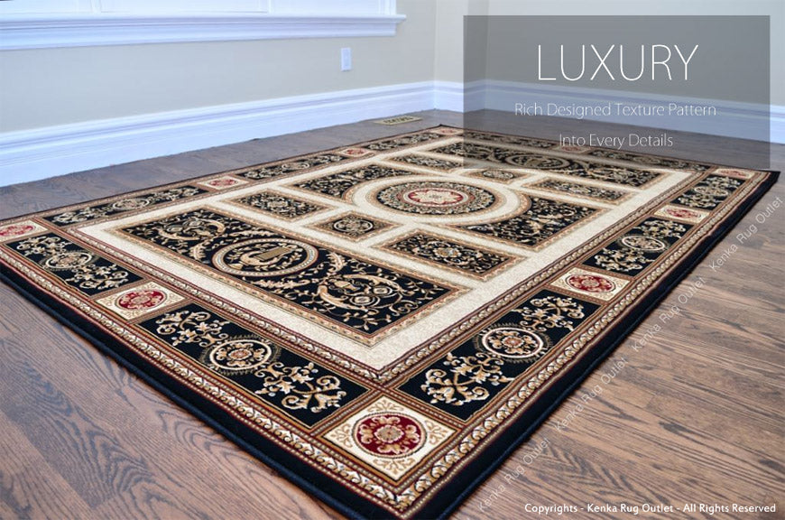 Royal Istanbul Black Area Rug - Luxury Rich Design Pattern Into Every Detail
