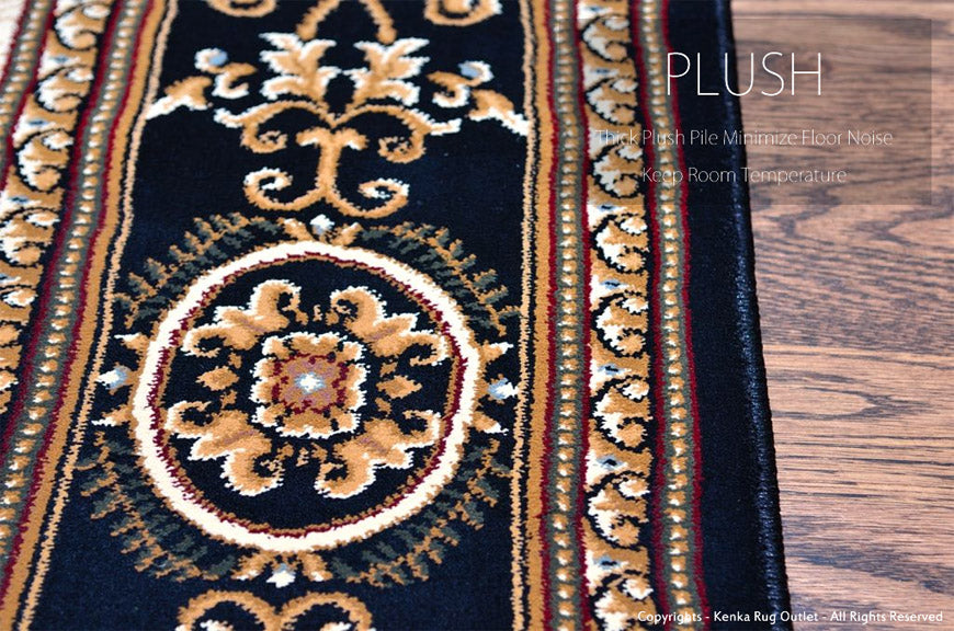 Royal Istanbul Black Area Rug - Thick Plush Pile Minimize Floor Noise Keep Room Temperature