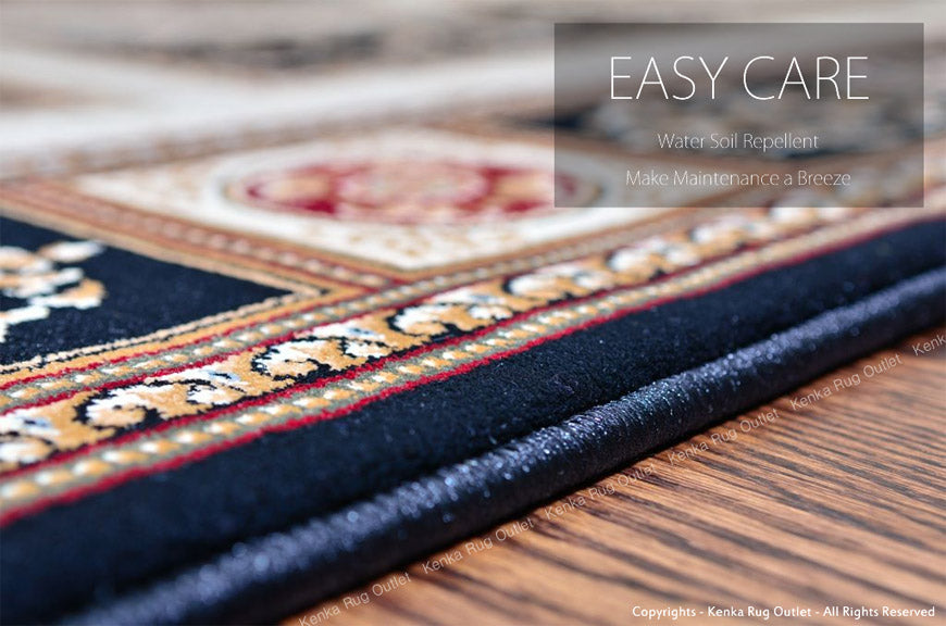 Royal Istanbul Black Area Rug - Easy Care, Water Soil Repellent