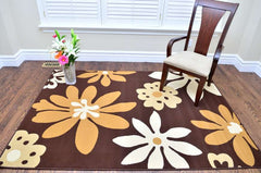 Modern Brown Flora Design Area Rug