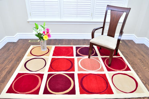 Picture of Modern Abstract Square Circle Design Area Rug