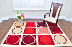 Modern Abstract Square Circle Design Area Rug