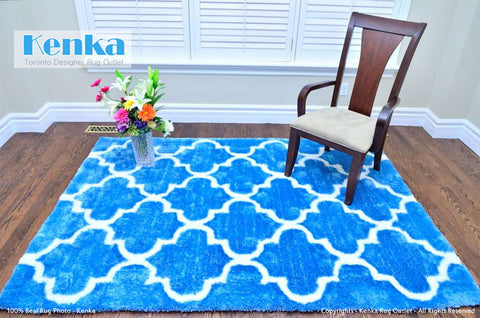 Picture of Storm Moroccan Light Blue Shag Rug