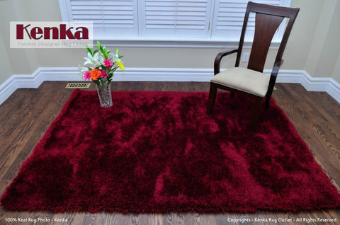 Picture of Storm Red Black Shag Rug