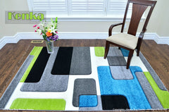 Sierra Blue Lime Geometric Design Area Rug