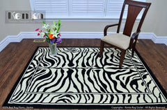 Zebra Design Black/White Rug
