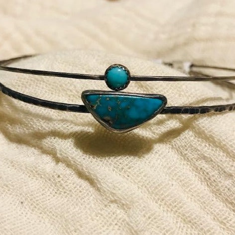 Brushed Nickel Bangles with Turquoise