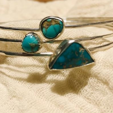 Sterling Silver Bangles with Turquoise