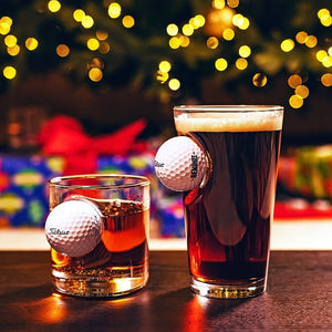 Golf Ball Glass with Real Golf Ball Embedded