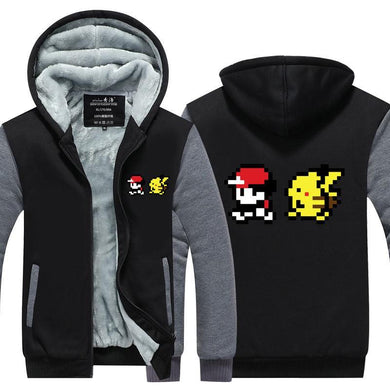 sweat pokemon fille, Veste pixel : Sacha & Pikachu - frpokemon1
