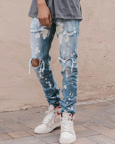 Paint scattered Ripped Slim-Fit Jeans