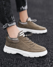 Stitching Lace-up Round-toe Sneakers