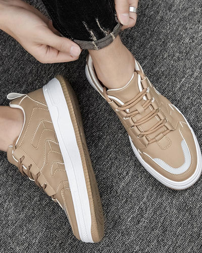 Colorblock Round-toe Sporty Lace-up Sneakers