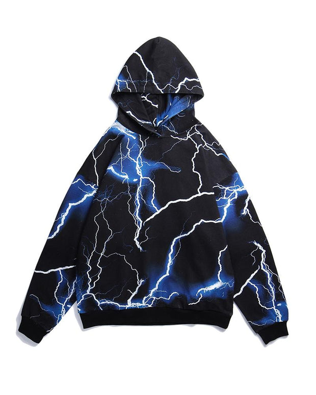 Flah Print Long Sleeve Hooded Loose Sweatshirts