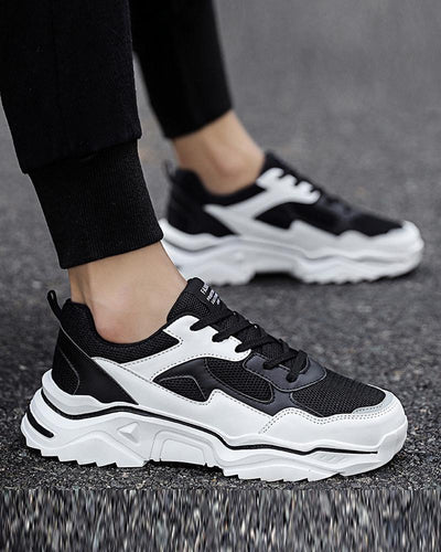 Colorblock Breathable Lace-up Sports Sneakers