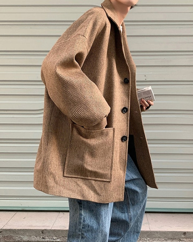 Solid Long Sleeve Loose Button-up Coats
