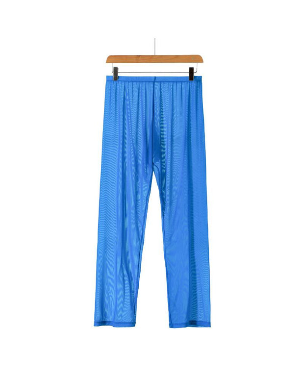 Mesh Solid Color See-through Loose Long Pants