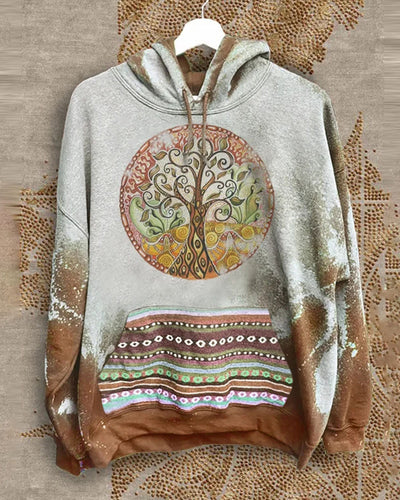 Tie Dye Tree Print Long Sleeve Hooded Sweatshirt With Pockets