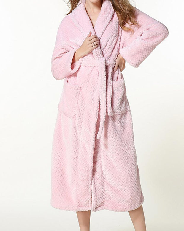 Solid Long Sleeve Loose Fluffy Bathrobe Sleepwear