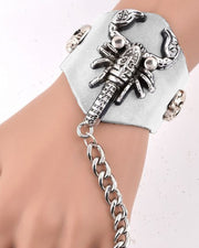 Metallic Scorpion Ring Chain Bracelet