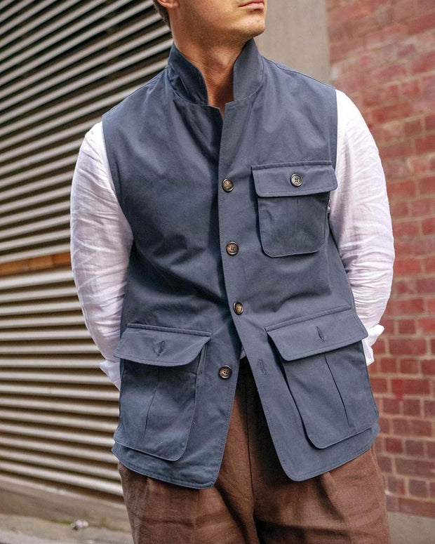 Solid Sleeveless Fitting Coats Vest