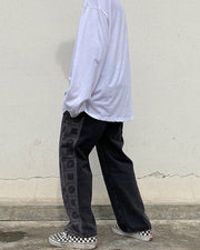 National Style Print Baggy Straight Pants