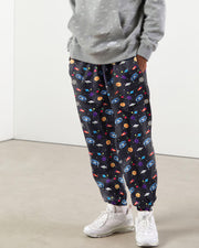 3D Starry Sky Print Straight Baggy Pants