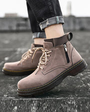 Lace-up Round-toe Solid Color Boots