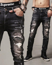 Washing Effect Ripped Denim Biker Pants