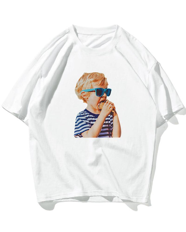 Cute Boy Print Short Sleeve Oversized T-shirts